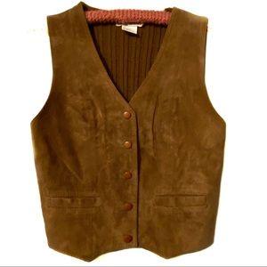 VTG Jack Winter brown leather sweater vest large